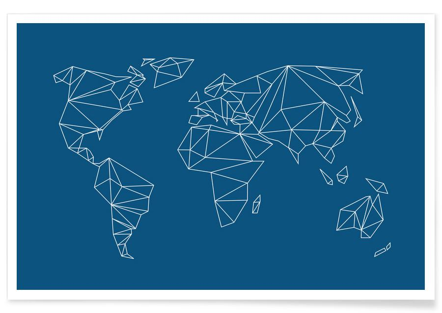 Geometrical World Indigo -Poster