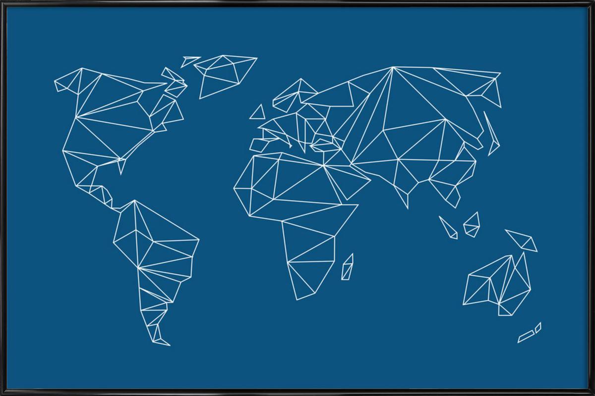 Geometrical World Indigo Framed Poster