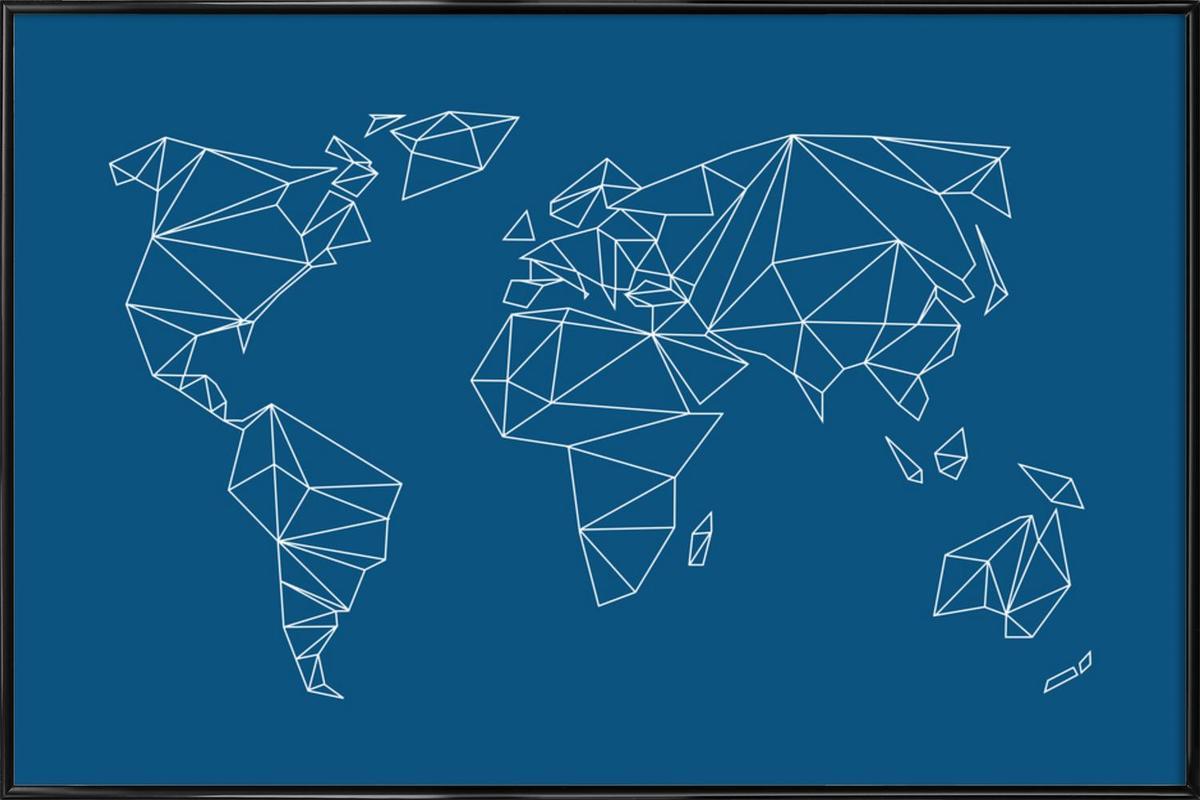 Geometrical World Indigo ingelijste poster