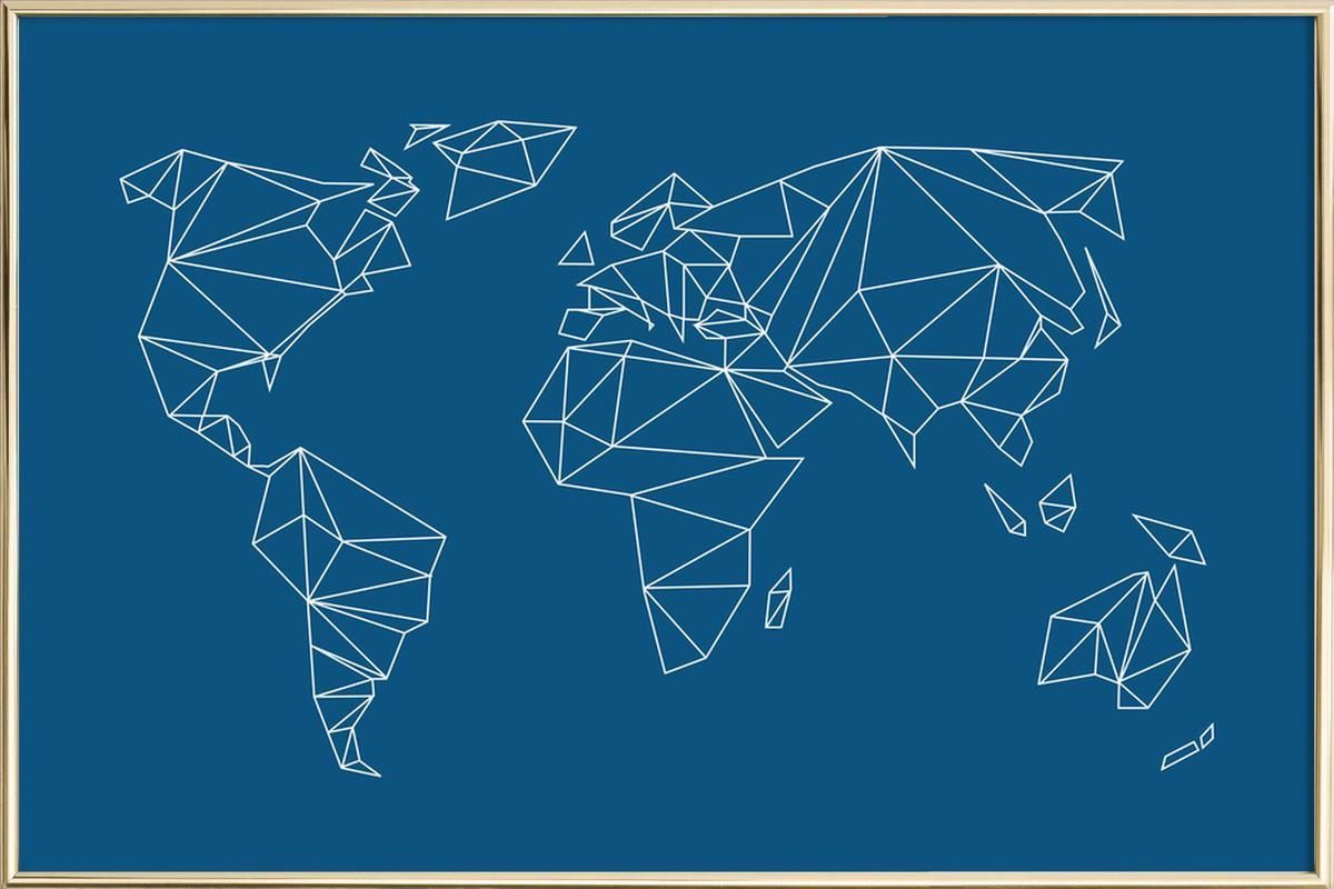 Geometrical World Indigo poster in aluminium lijst