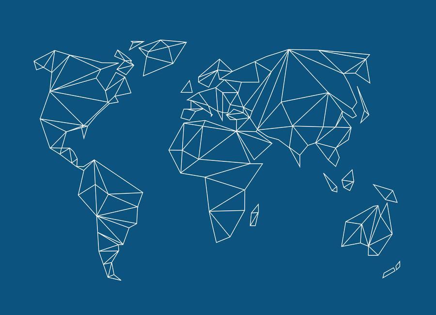 Geometrical World Indigo -Leinwandbild