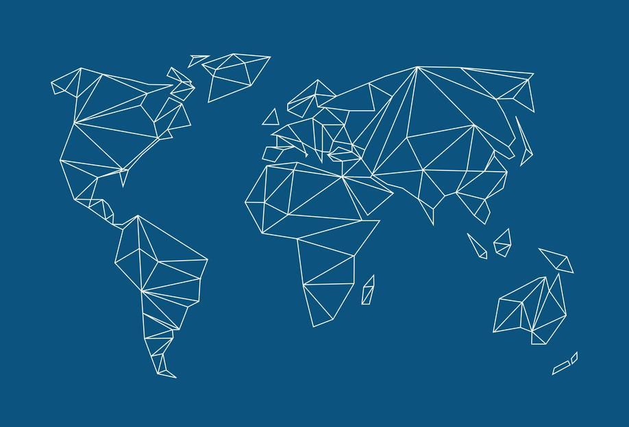 Geometrical World Indigo -Alubild