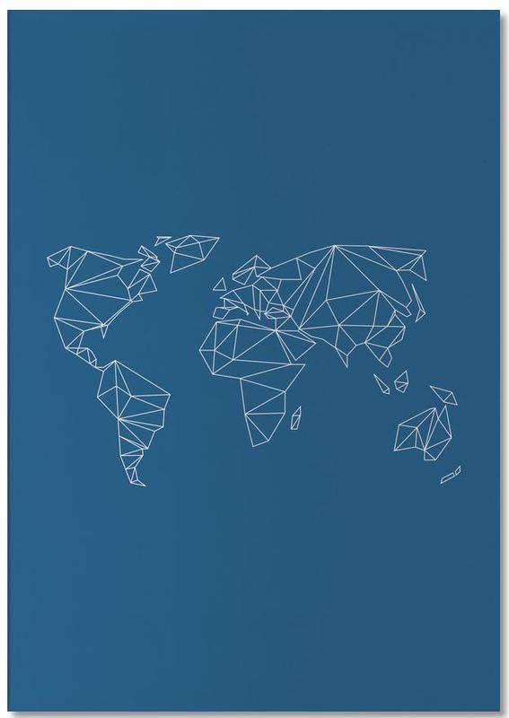 Wereldkaarten, Geometrical World Indigo notitieblok