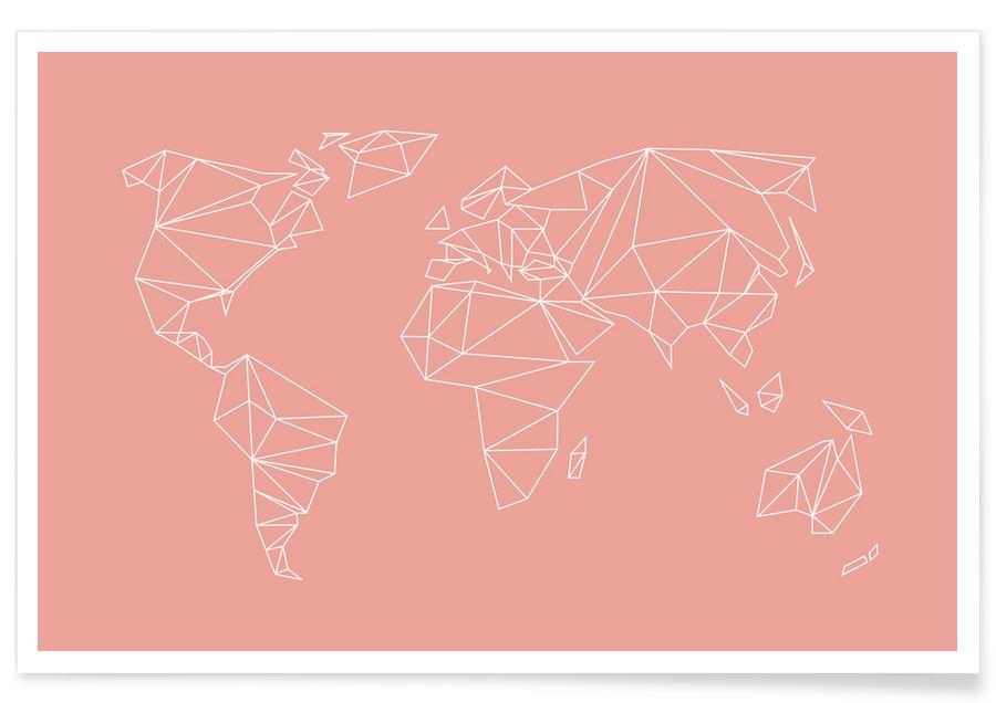 Verdenskort, Geometrical World Blush Plakat