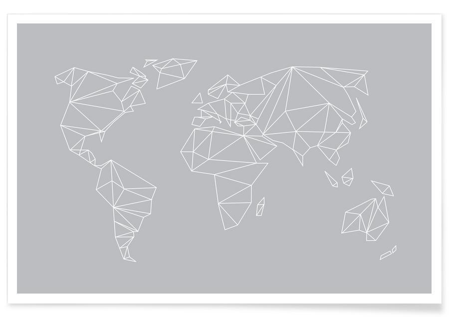 Zwart en wit, Wereldkaarten, Geometrical World Grey poster