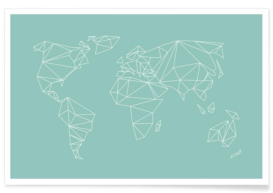 Geometrical World Green Poster
