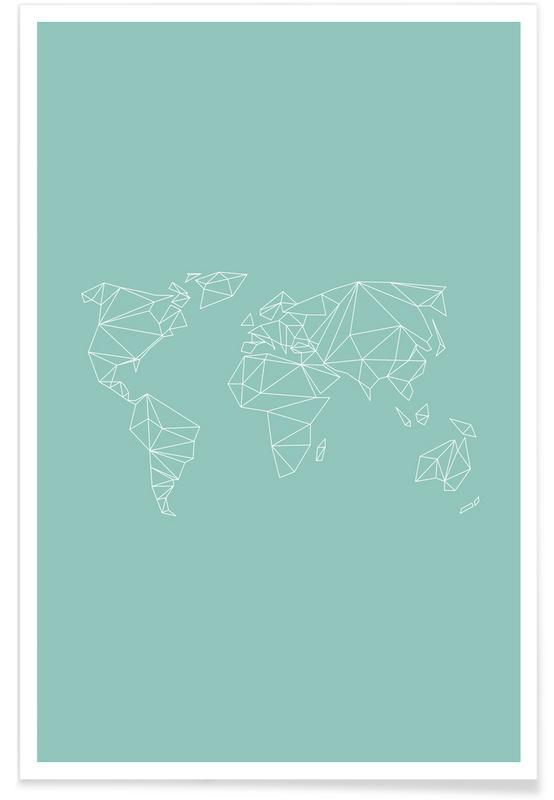 Schwarz & Weiß, Weltkarten, Geometrical World Green 2 -Poster