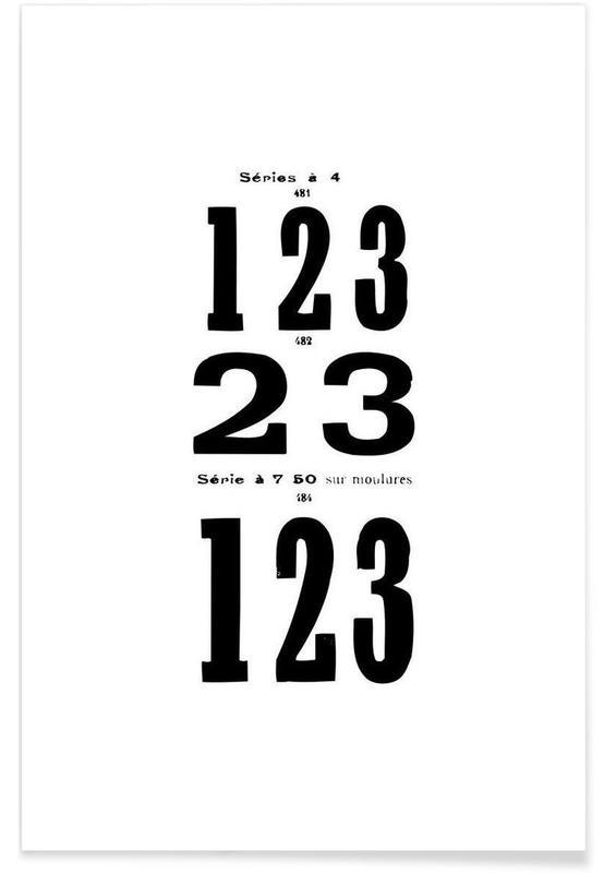 Noir & blanc, Nombres, 123 affiche