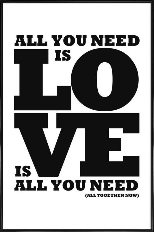 All you need is love -Bild mit Kunststoffrahmen