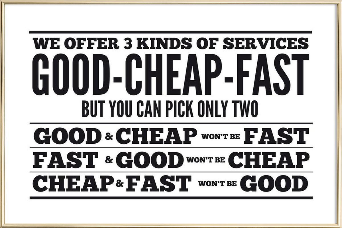 Good Cheap Fast Poster in Aluminium Frame