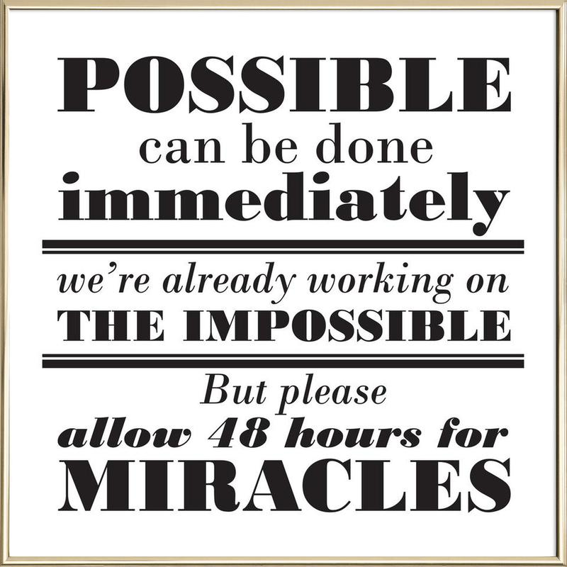Possible Impossible Miracles poster in aluminium lijst