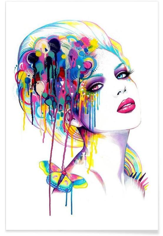 Fashion Illustrations, Portraits, Color Portrait Poster