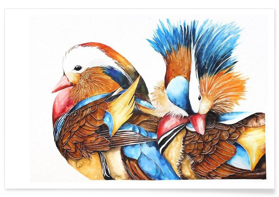 Enten, Mandarin Ducks -Poster
