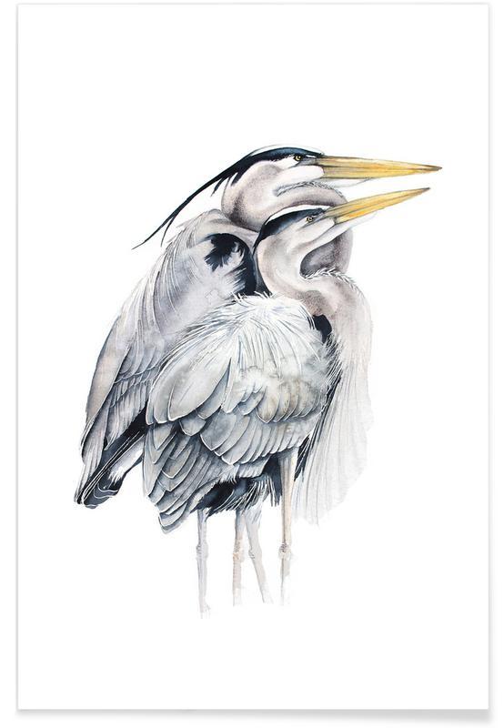 , Grey Herons Poster
