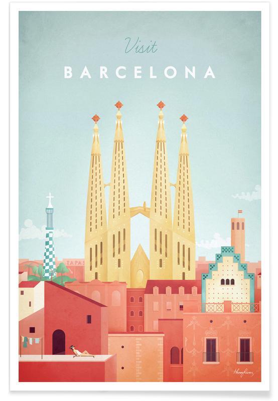Vintage rejser, Vintage Barcelona Travel Plakat