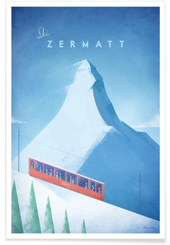 Reizen, Vintage reis, Vintage Zermatt - reizen poster