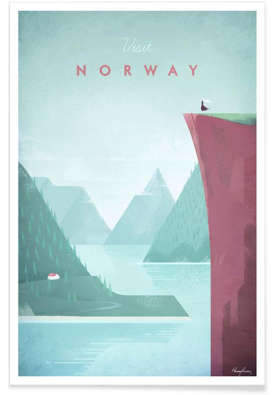 Reise, Vintage Reise, Vintage-Norwegen-Reise -Poster