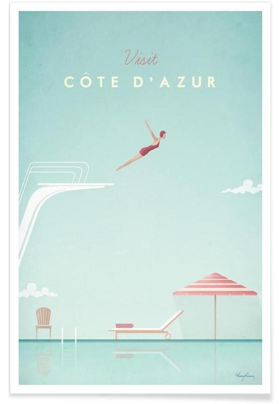 Voyages, Vintage voyage, Côte d'Azur vintage - Voyage affiche