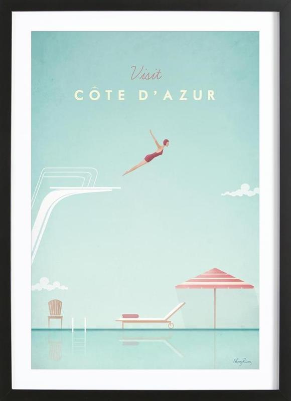 Côte d'Azur -Bild mit Holzrahmen