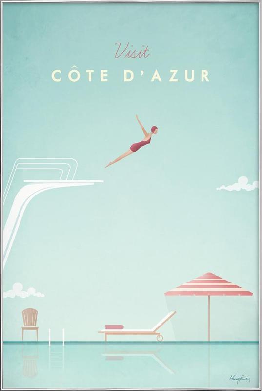 Côte d'Azur Poster in Aluminium Frame