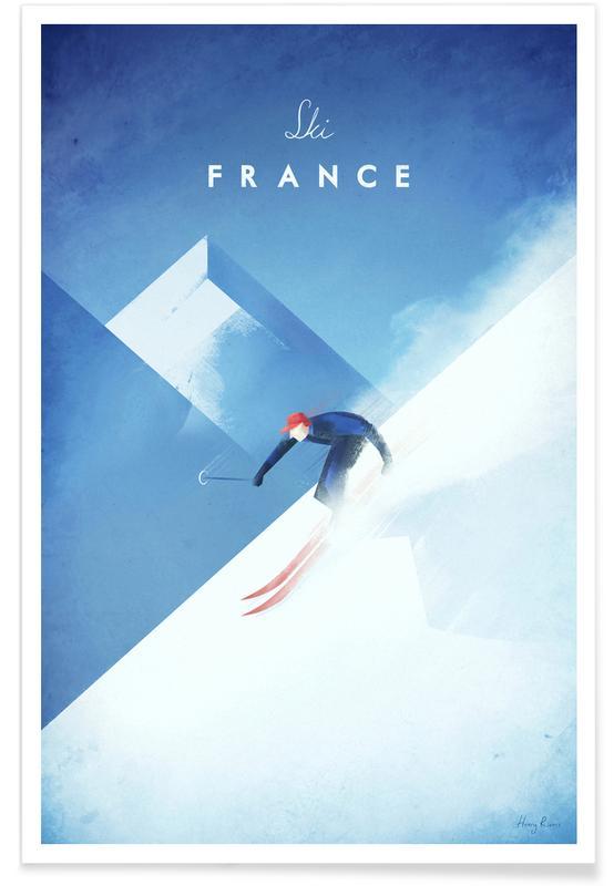 Vintage-Ski-Frankreich-Reise -Poster