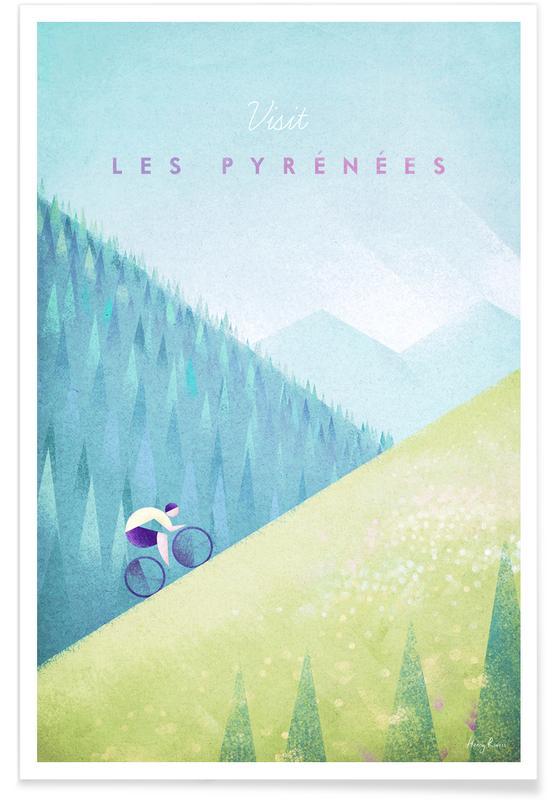Reise, Vintage Reise, Vintage-Die Pyrenäen-Reise -Poster