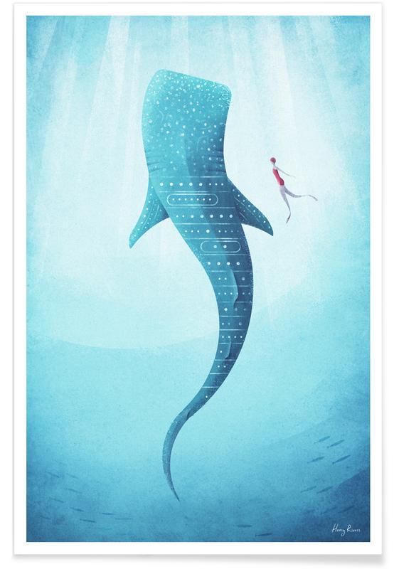 Vintage voyage, Requin-baleine vintage - Voyage affiche