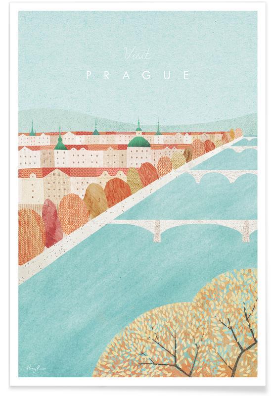 Voyages, Vintage voyage, Prague affiche