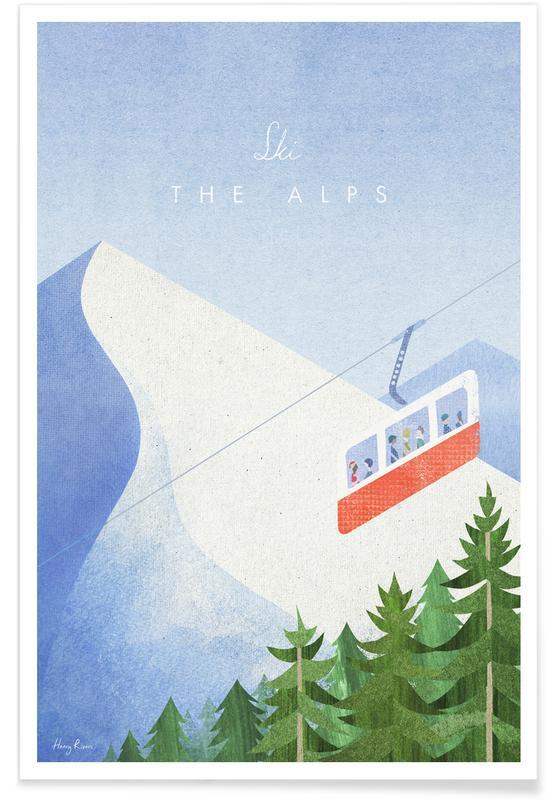 Voyages, Vintage voyage, Vintage voyage dans les Alpes affiche
