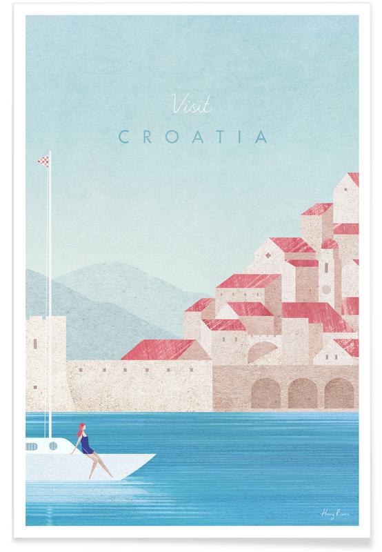 Voyages, Vintage voyage, Croatia affiche