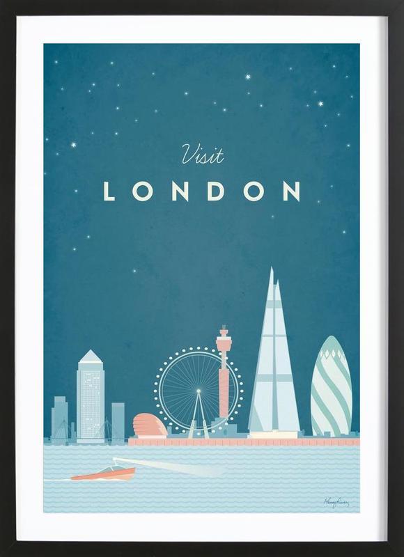 London affiche sous cadre en bois