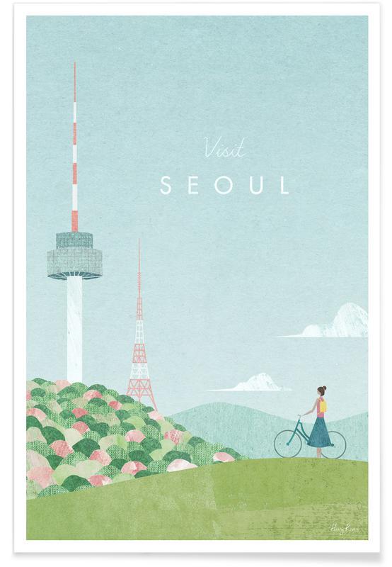 Voyages, Vintage voyage, Seoul affiche
