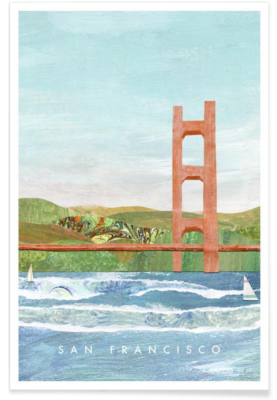 Abstract Landscapes, Travel, San Francisco Golden Gate Poster