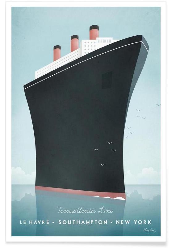 Voyages, Vintage voyage, Bateau de croisière vintage - Voyage affiche