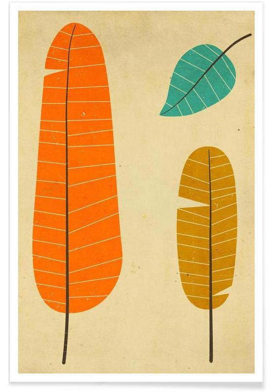 Feuilles & Plantes, 3 leaves affiche