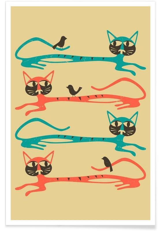 Birds on a cat affiche