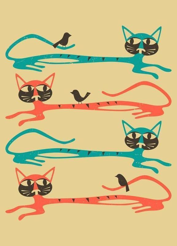 Birds on a cat -Leinwandbild