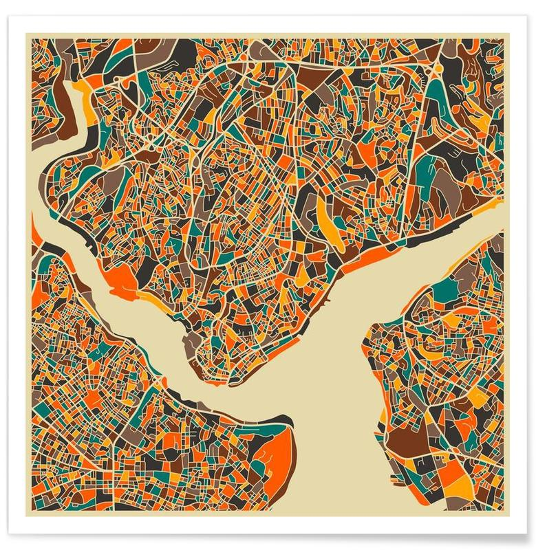 Istanbul, Bykort, Istanbul Colourful Map Plakat