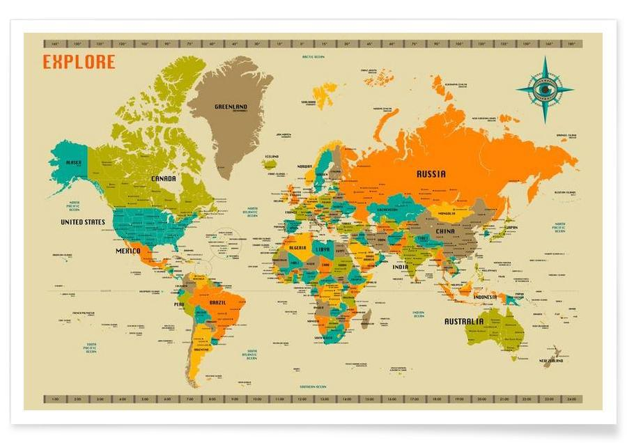 New World Colourful Map Poster