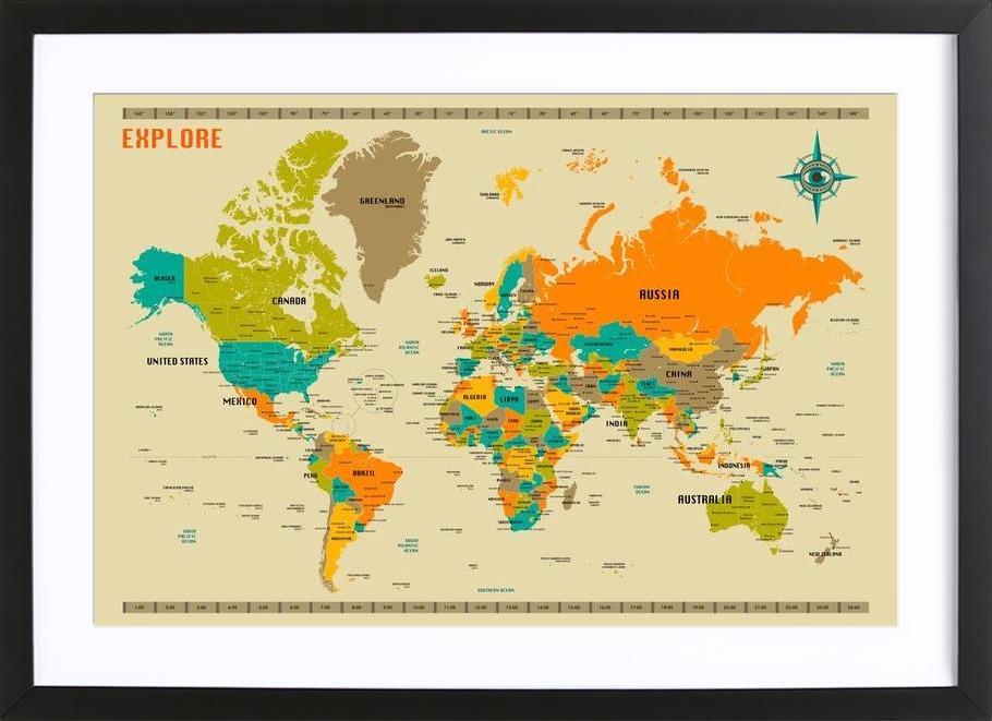 New World Map Framed Print