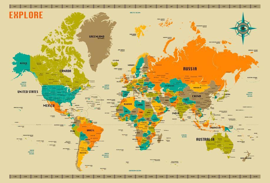 New World Map -Acrylglasbild