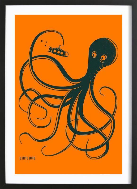 Octopus -Bild mit Holzrahmen