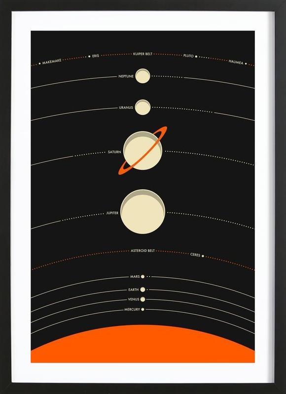 Solar System black Framed Print