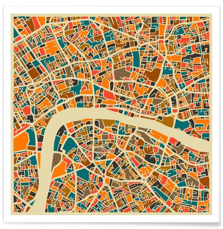 Londres, Cartes de villes, Londres - Carte colorée affiche