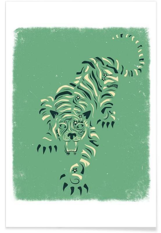 Tigre, Tiger blue Plakat