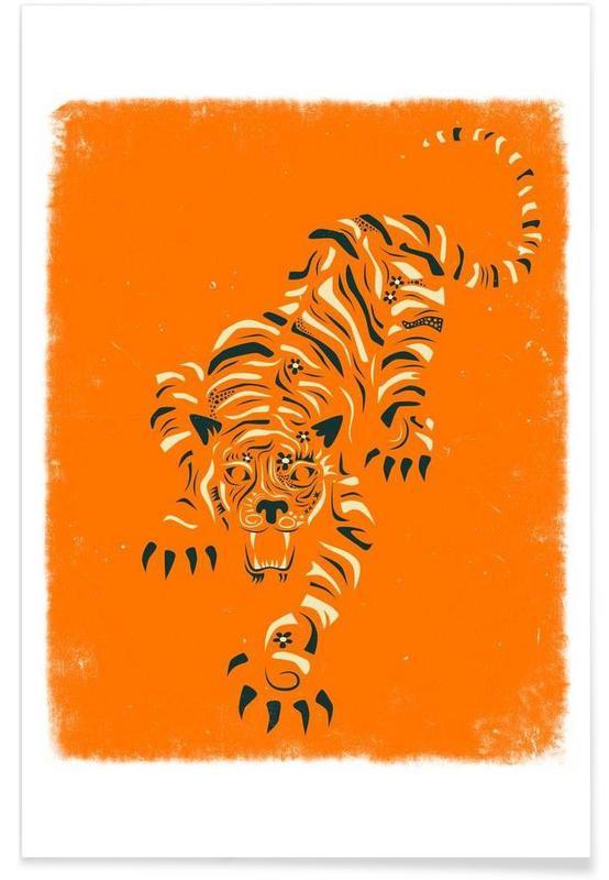 Tigres, Tiger orange affiche