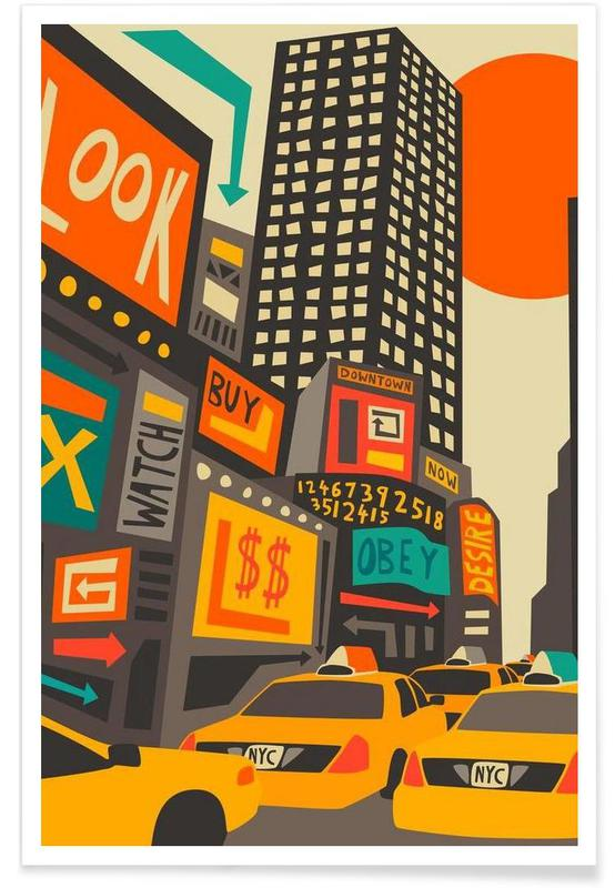 New York, Time Square day affiche