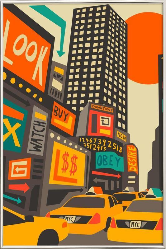 Time Square day -Poster im Alurahmen