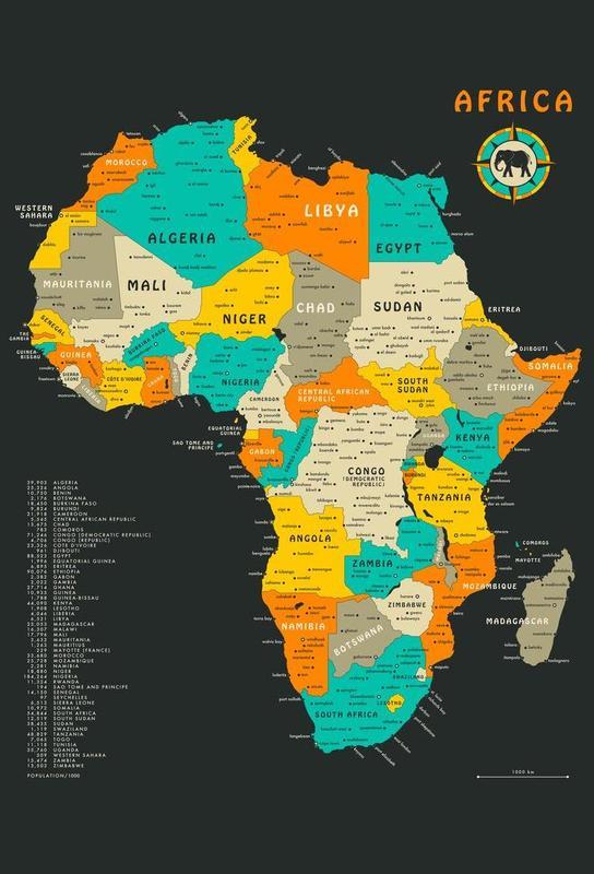 Africa Map acrylglas print