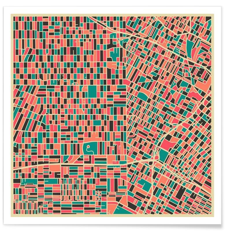 Los Angeles - Carte colorée affiche